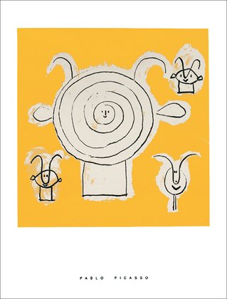 Germanposters Pablo Picasso Tete de faune en Grisaille Avec Trois Figures Poster Kunstdruck Siebdruck Bild 80x60cm