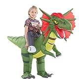 Inflatable Dinosaur Costume Kids Boys Girls, Inflatable Blow Up Costume Riding Dilophosaurus Dinosaur Costume Child, Inflatable Ride On Dinosaur Halloween Costume Children