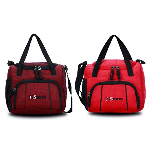 iStorm Polyester Lunch Bag/Tiffin Bag for Lunch Box (Maroon & Red, Pack of 2)