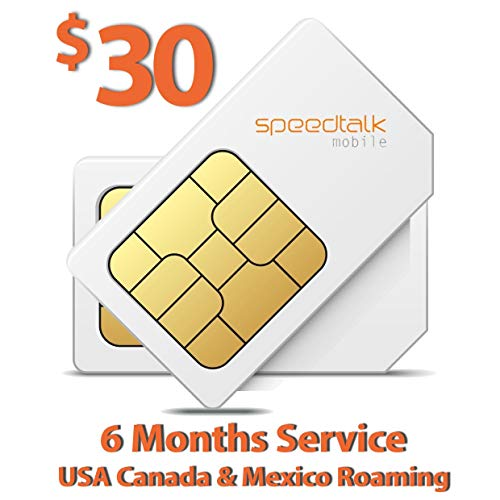 SpeedTalk Mobile $30 SIM Card for GSM GPS Tracking Kid Child Elderly Pet SmartWatch Car Tracker Devices Locators - 6 Months Service - USA Canada & Mexico Roaming