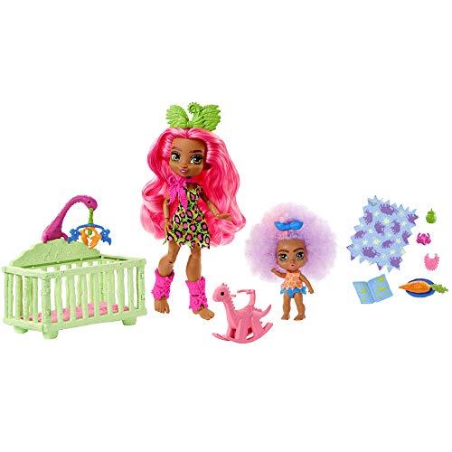 Cave Club Muñecas Pre-Históricas Pack 2 Fernessa y Furrah, muñecas con mascotas y accesorios (Mattel GNL92)