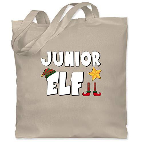 Shirtracer Weihnachten Kind - Partnerlook Junior Elf - Unisize - Naturweiß - elfe weihnachten - WM101 - Stoffbeutel aus Baumwolle Jutebeutel lange Henkel