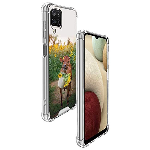 ZIYE Cows and Sunflowers Samsung Galaxy A12 Case for Girls Women Durable PC Back/Clear Soft TPU Bumper Reinforced Corners Shockproof Protective Phone Case for Samsung Galaxy A12