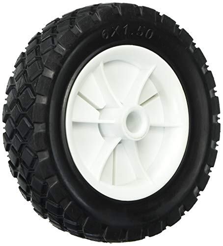 Shepherd Hardware 9610 6-Inch Semi-Pneumatic Rubber Replacement Tire, Plastic Wheel, 1-1/2-Inch Diamond Tread, 1/2-Inch Bore Offset,White