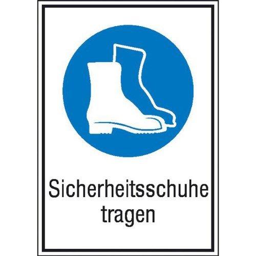 INDIGOS UG - Sicherheitsschuhe tragen Gebotsschild, selbstklebende Folie - Aufkleber, Größe 13,10x18,50 cm - Sicherheit Warnung Büro Betrieb Werkstatt