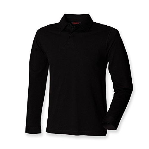 Skinni Fit - Polo - - Uni - Col polo - Manches longues Homme - Noir - Noir - Medium