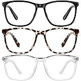 Blue-Light-Blocking-Glasses Men/Women 3Pack Computer Gaming Fake Galsses Blue Light Blocker Glasses Non Prescription (black douhua transparent)