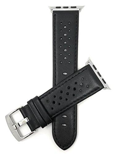 Bandini Ersatzlieferung Uhrenarmband für Apple Watch 38mm, Leder Schwarz, Perforiert, Stil Gt Rally
