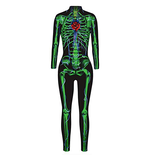 TUWEN Damen Miss Whiplash Skelett Kostüm, Skelett Aufdruck-Large