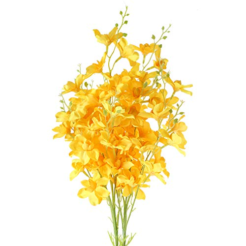 XYXCMOR 2 Pcs Artificial Yellow Flowers Faux Orchid Stems Fake Daffodils Flowers Orquideas Silk Bouquet Flowers Arrangements for Indoor Wedding Home Table Centerpiece Party Decoration