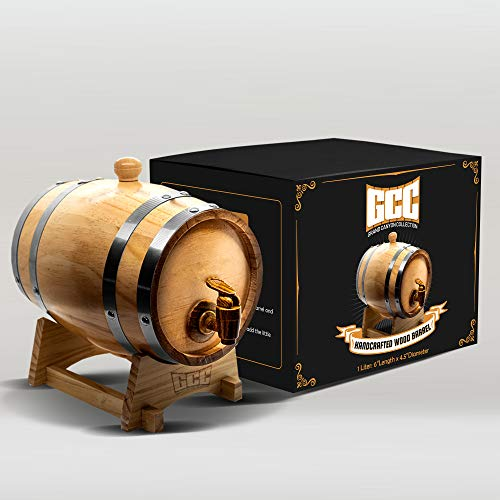 GRAND CANYON COLLECTION Whiskey Barrel Dispenser Home Whiskey Barrel For Display and Storage. Spirits, Beer, and Liquor (Black Rounds) - 5L
