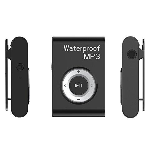 oobest Mini draagbare MP3-speler IPX8 waterdicht heroplaadbaar Clip Music Media Player houder FM-radio met hoofdtelefoon, Zwart