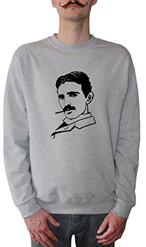 Mister Merchandise Herren Pullover Sweater Nikola Tesla, Größe: XL, Farbe: Grau
