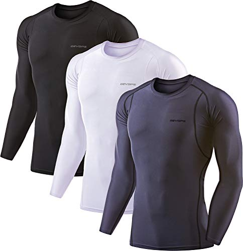 DEVOPS 3 Pack Men's Athletic Long Sleeve Compression Shirts (Large, Black-Charcoal-White)