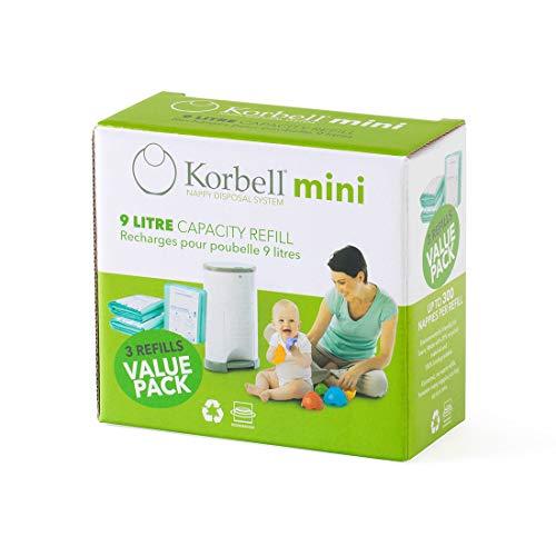 KORBELL - Recarga de pañales - MINI - 9 L - X3 - Biodegradable - Antiolor - Capacidad de 130 capas por recambio