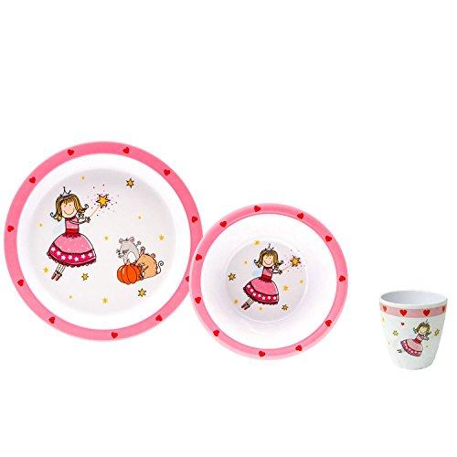 Gimex Kindergeschirrset Zauberfee, Kindergeschirr Set Mädchen 3-teilig, Spülmaschinenfest Kinderteller, Kinderschüssel & Kinderbecher | Kinder Geschirr Set Frühstücksset Melamin