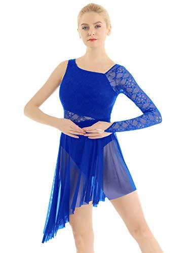 iEFiEL Damen Ballettkleid Ballettanzug Spitzen Turnanzug mit Asymmetrisch Rock Swing Kleid Ballett Trikot Latein Tanzkleid XS-XL Royal Blau XS