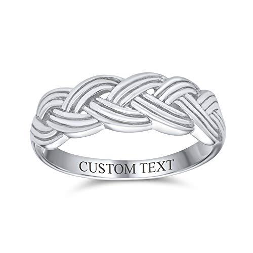 Personalizar ancho unisex pesado trigo trenzado cuerda trenzado anillo de banda para mujeres hombres biselados borde oxidado 925 plata de ley 5 mm personalizado grabado