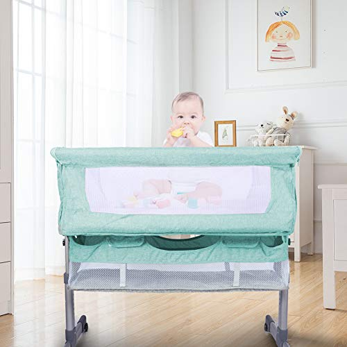 HoneiLife Rocking Bassinet for Baby - 3 in 1 Baby Cribs with Mosquito Net Adjustable Bedside Sleeper Easy Folding Baby Bed Portable Baby Travel Bed with Mattress & Detachable Side Panel,Green