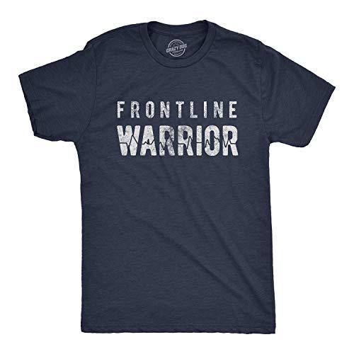 Mens Frontline Warrior Tshirt Funny Nurse Doctor Quarantine Social Distancing Tee (Heather Navy) - 3XL