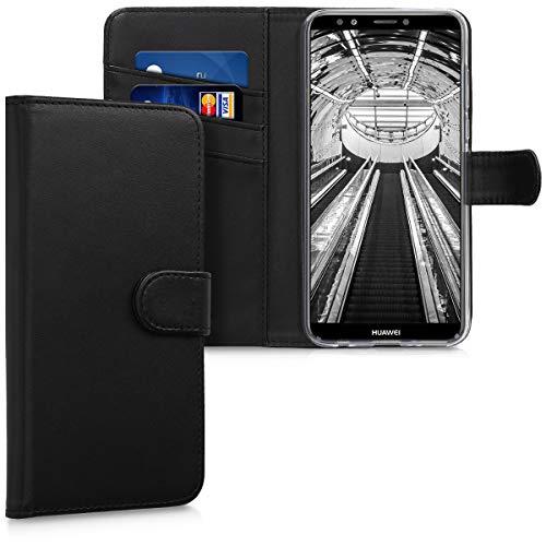 kwmobile Huawei Y7 (2018)/Y7 Prime (2018) Hülle - Kunstleder Wallet Case für Huawei Y7 (2018)/Y7 Prime (2018) mit Kartenfächern & Stand - Schwarz