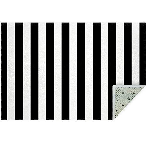 Bennigiry Alfombra de rayas verticales en blanco y negro para sala de estar, dormitorio, sala de juegos, 60 x 39 pulgadas