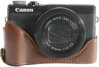اكسسوارات KINGCOM - كاميرا/حقائب فيديو - حافظة صلبة حقيبة كاميرا جلدية من البولي يوريثان ريترو لـ Canon Powershot G7 X G7X Mark II (G7XII G7XIII) مارك 2 مارك 3 G7X2 G7X3 (علبة نصف)