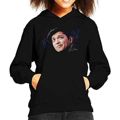 VINTRO Bruno Mars Hat Kinder Kapuzen-Sweatshirt Original Portrait von Sidney Maurer Professionell Bedruckt Gr. X-Large, Jet Black