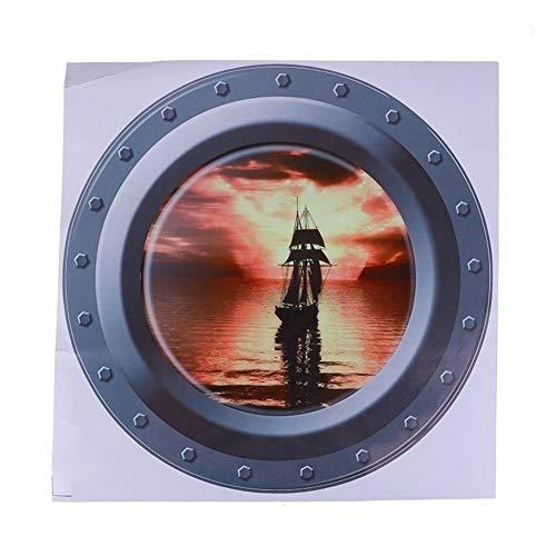 ZZLLFF Submarino Submarino Ojos de Buey de Windows Pegatinas de Pared for la decoración de DIY Lavadora Adhesivos de Pared del Arte (Color : B01)