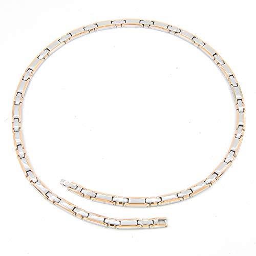 純チタン ゲルマニウム ネックレス メンズ レディース 磁気ネックレス 肩こり 健康 ファッションジュエリー 静電気除去 (シルバー & ピンクゴールド, 52.5)