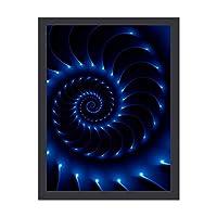 INOV 光沢 ある青い螺線形 フラクタル ポスター アートパネル インテリア パネル おしゃれ モダン 玄関 壁掛け 絵 額付き アートフレーム 30X40CM