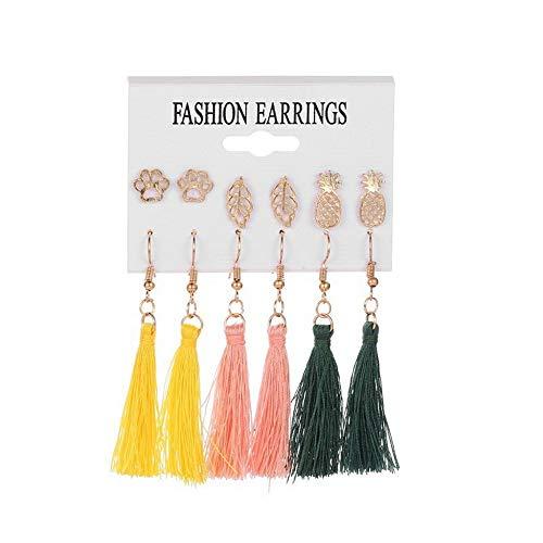 Damen Ohrringe Mode AnhäNger OhrhäNger Schmuck Geschenke Ohrringe Set Ethnischen Stil Quaste Geometrische Ohrstecker Fashion Travel Ohrring Set D