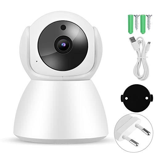 BTIHCEUOT Monitor de Cuidado del bebé, 720P WiFi IP Babycam Video de visión Nocturna Cámara PTZ de intercomunicación de 2 vías para Seguridad en el hogar(Enchufe de la UE)