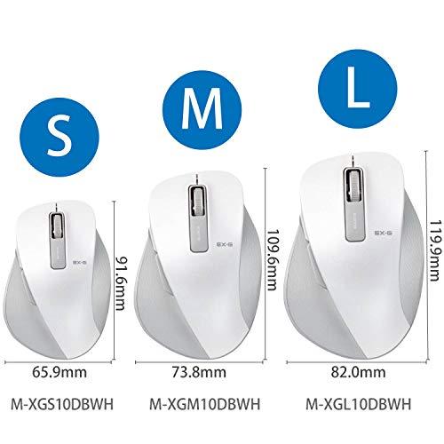 『エレコム マウス ワイヤレス (レシーバー付属) Sサイズ 小型 5ボタン (戻る・進むボタン搭載) BlueLED 握りの極み ホワイト M-XGS10DBWH』の4枚目の画像