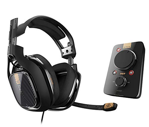ASTRO A40 TR Gaming-Headset + MixAmp Pro TR Adapter, 3. Generation, 7.1 Dolby Surround Sound, Austauschbares Mikrofon, Lautsprecher-Tags, Leichtgewicht, Mod-Kit Kompatibel, PC/Mac/PS4 - schwarz/gold
