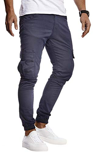 Leif Nelson Herren Hose Jeans Stretch Jeanshose Chino Cargo Chinohose Jogger Freizeithose Stretch Slim Fit LN9285; W32L32, Blau