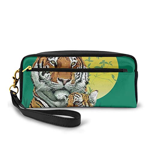 Pencil Case Pen Bag Pouch Stationary,Tiger Family in Jungle Full Moon Light Night Grass Aggressive Abstract,Small Makeup Bag Coin Purse