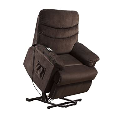 Furniture of America Venturi Bella Fabric Recliner with Stand-Assist Power Lift System, Cocoa Brown