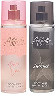 Affetto By Sunny Leone Pure Love & Instinct Body Mist - For Women 200ML Each (400ML, Pack of 2)