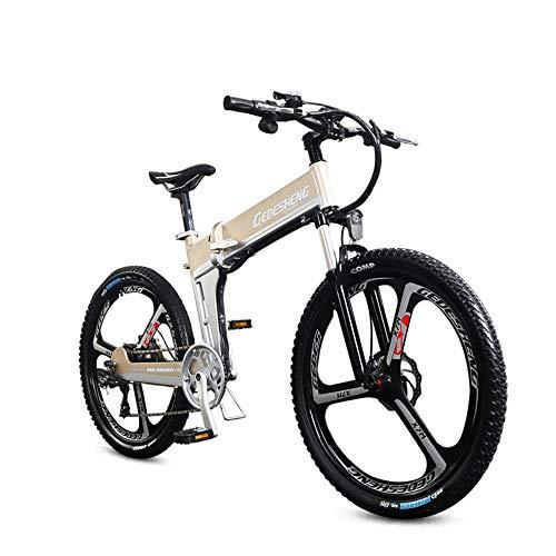 MERRYHE Pedal de Bicicleta de Bicicleta de Carretera de Bicicleta eléctrica de Carretera eléctrica Plegable con Frenos de Disco y ciclomotor de Horquilla de suspensión,Gold-48V10ah