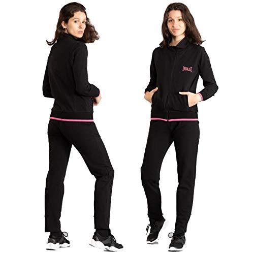 Everlast Tuta donna leggera completo elasticizzato sport senza cappuccio nero W638 (L)