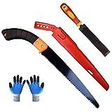 Sierra de mano para poda de jardín con estuche, sierra para cortar, sierra para madera + lima de diamante + un par de guantes de jardín