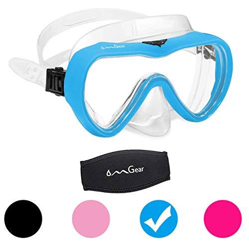 OMGear Tauchmaske Schnorchelausrüstung Kinder Erwachsene Schnorchelmaske Taucherbrille Silikon Schwimmbrille Tauchen Freies Tauchen Spearfishing Anti-Fog Neopren Band Cover (wasserdichtblau)