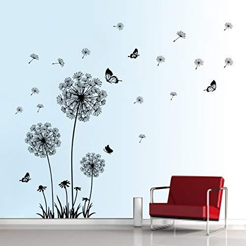 decalmile Wandtattoo Pusteblume Schmetterling Wandsticker Löwenzahn Wandaufkleber Wanddekoration für Wohnzimmer Schlafzimmer Flur (Schwarz)