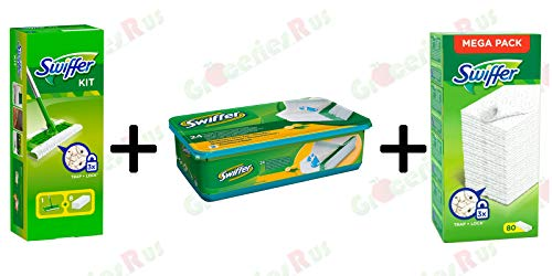 Swiffer Kit 1 Floor Mop with 8 Dusters + 24 Wet Cloth's + Duster Refills 80's - Bundle Pack