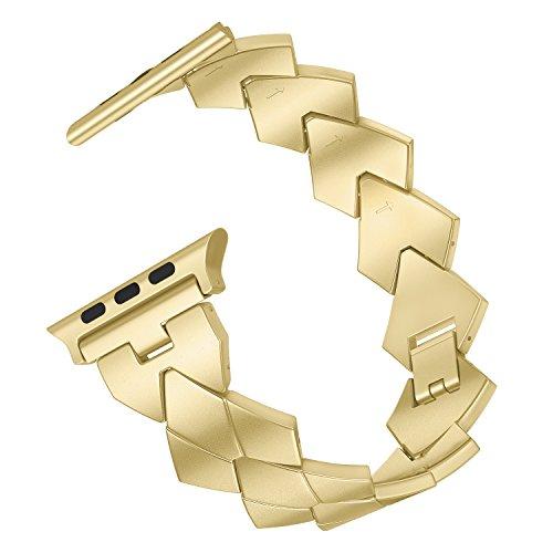 MoKo Cinturino Compatibile con iWatch 42mm 44mm Series 5/4/3/2/1, Bracciale di Ricambio in Acciaio Inossidabile con Watch Lugs, (Non per iWatch 38mm), Oro Champagne