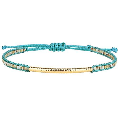 Kanyee Bracelet Bangle Doré Plaqué Bracelets Rang De Perles Extensible Tressée A La Main Bracelets Charm D'amitié Bijoux Cadeau Unisexe