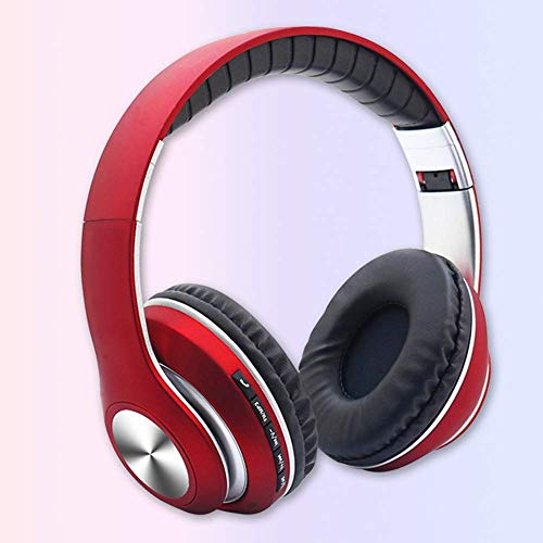 YAJIWU Headphones, Over Ear Stereo Wireless Headset, Playtime With Deep Bass, Soft Memory-protein Earmuffs, Built-in Mic Wired Mode PC/Cell Phones/TV (Color : Red)