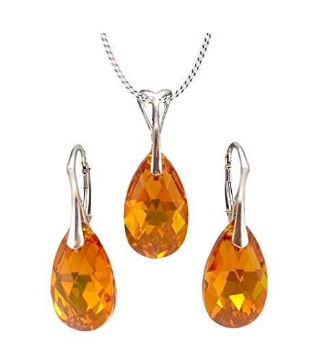 """Crystals & Stones """"Almond"""" jewellery set, 925silver, beautiful women's jewellery set with crystals by Swarovski Elements, wonderful earrings and necklace with a gift box Topaz AB"""