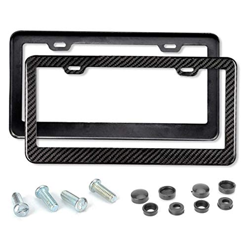 Mega Racer License Plate Frame Carbon Fiber - Carbon Frame 2 Pack Stainless Steel Printed Carbon Fiber License Plate Frame Front and Rear Holder with Stainless Steel Screws Carbon Fiber License Frame